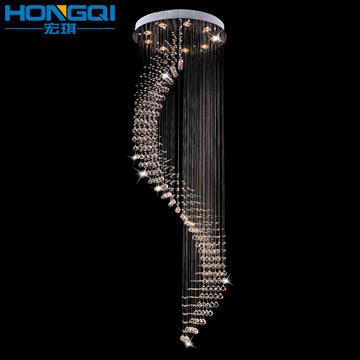 Lâmpada de cristal sala de estar lâmpada acende escada iluminação lâmpadas luz moderno pingente espiral d9071(China (Mainland))