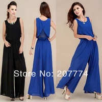 2014 Summer Fashion Elegant Jumpsuit Women Sexy Rompers For Ladies Lace Sleeveless Strap Jumpsuit  Wide Legs Maxi
