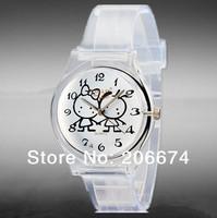 NEW Willis mini Women's Cartoon Print Quartz Analog Watch #6018(transparent)Waterproof watch Quartz watch+free shipping