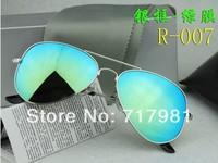 Free shipping Hot Men's Women's Designer Sunglasses Silver Frame Iridium Lens With Box Case all  1pcs Size:Large