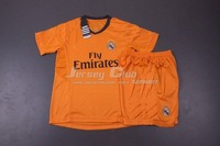 Best Thailand quality Kids 2014 Real madrid jerseys away orange children 2014 Real madrid football shirts