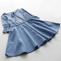 New!  High Quality Summer Child girl  Soft  Denim Sweet Cute Baby girl Dress Cotton Casual Children Girl Dress   Kids Dres