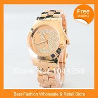 ePacket Free Shipping 2014 Luxury Brand Diamond Watch Rose Gold Women Silver Men Wristwatch Janpan Quartz 3Color+Drop Shipping