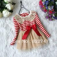 Free shipping Hot!! 2014 fall winter girl's clothes girls chiffon dress,Sequins collar stripe lace dress,kids fashion dress