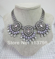 Free shipping New hot sale candy color acrylic exaggerated flowers statement women luxurious charms chokers necklace wholesale