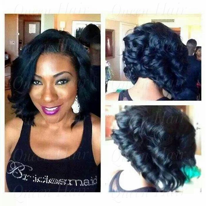 Fashion black women 14inch #1b,short curly wigs virgin human hair bob