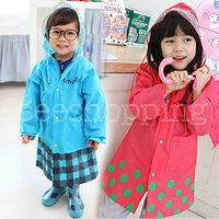 A-Q766 New Cute Cartoon Design Kids Boys Girls Children Cover Rain Raincoat Rainwear Rainsuit Waterproof Hooded Outwear S/M/L
