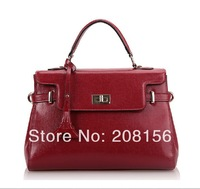Genuine leather bags Hobos Totes  BOWLING   Doctors Bag With cover enclosure Messenger Bag free shipping woman  0370