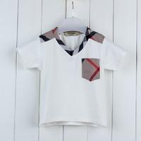 2014 new summer fashion boys child clothing v-neck plaid pocket  tops solid color short sleeve kids t-shirt brand k9356