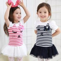 free shipping 2014 summer cartoon girls clothing baby child qz-1572 short-sleeve dress