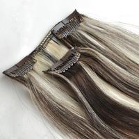 "Free Shipping 100% real Brazilian  virgin Human Hair Clip in Extensions 14"" -30"" 70g -120g 7Pcs/Set  #4 -613 brown mix blonde"