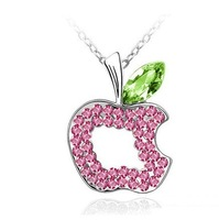 Wholesale white gold plated crystal fashion apple pendant necklace wedding jewelry for women 2N153