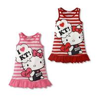 Hot Sale Cotton Tank Dress Girls Stripe HelloKitty Fashion Child Girl Baby Sleeveless Flounced Beach Dresses Pink Red 635163