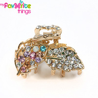 New Designer Fashion Medium Bling Crystal Leaves 4cm Hair Claws Clip Clamp Accessories For Women Girls Jewelry  Free Shipping