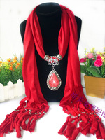 Wine red fashion pendant scarf fashion tassel necklace scarf drop accessories cape scarf