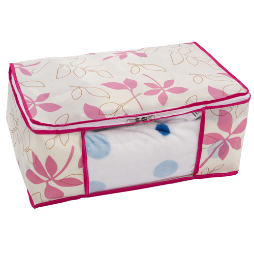 pink clothes storage bin non-woven quilt storage box folding garment container free shipping(China (Mainland))