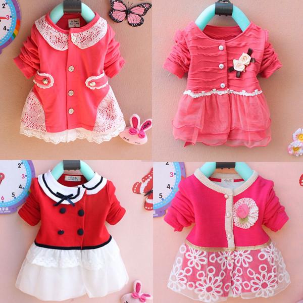 Kids clothes new 2014 autumn Girls long-sleeved t-shirt Girls baby dress kids clothing dress chiffon children's lace cardigan(China (Mainland))