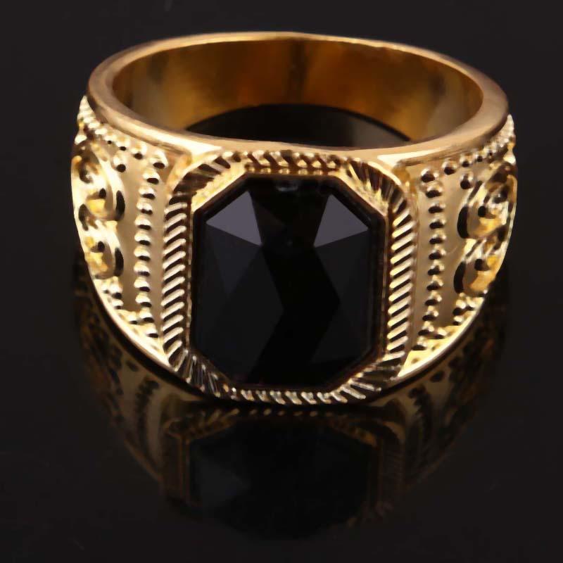 New 14k Yellow Gold Filled Stylish Men Black Square Enamel Rings ...