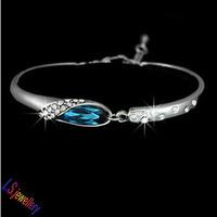Cinderella's Crystal Shoe Austrian Blue Crystal Elegant Bracelet