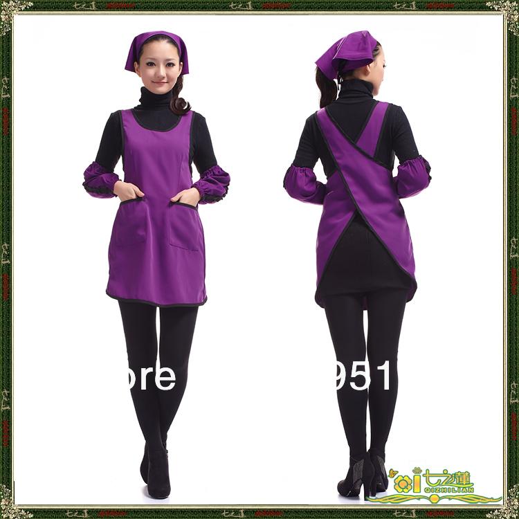 Fashionable 4Pcs/Lot Purple Thick Apron Spun Poly Adjustable Bar Waiter Kitchen Craft Clean Chef Women Bib Aprons With Pocket(China (Mainland))