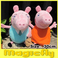 2 Pieces 30cm Peppa Pig Dad & Mom Plush Toys Peppa With Teddy Bear And George With Dinosaur + Free Shipping
