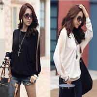 2014 Spring  the new women's round neck long-sleeved shirt loose bat bat sleeve T-shirt T-shirt blouses