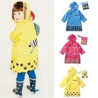 PQ766 Boys Girls Cute Funny Cartoon Rainwear Children Kid Hoodie Outwear Cover Rain Hoody Coat Raincoat Yellow Blue Hot Pink