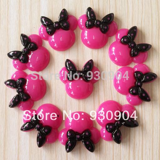 Wholesale 50pcs Hot Pink Minnie Mouse Black Bow Resin Cabochons Flatbacks Flat Back Girl Hair Bow Center Crafts DIY BXT255(China (Mainland))