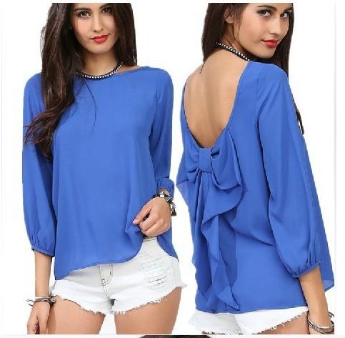 2014 Europe style fashion loose sexy open back women's chiffon blouses