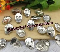 Retail 100pcs 15*22mm Silver Fashion Skull Stud  Punk Rock DIY Rivets Nailheads DIY Acceossry Free Shipping
