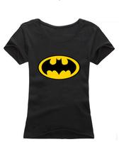 Free Shipping Women Fashion Slim Cotton Round Neck Batman Print Short T-Shirt Batman Tops