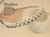 B01 Korea wavy hair accessories pearl diamond hoop Korean wild sweet temperament thin headband headdress