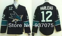 Free shipping 2014  Stadium Series Jersey San Jose Sharks # 12 Patrick Marleau Black Blue Ice Hockey Jerseys
