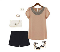 Fashionable loose chiffon shirt Women's handmade beading ruffle sleeve tops summer lady's all-match shirt  C1