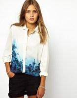 2014 New Hot Women Sweet Blue Floral Pattern Turn- Down Collar Chiffon Blouse Tops Casual Female Button Shirt Long Sleeve