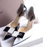 hot sale  free shipping womens brand real leathe pontied toe med heels bowtie white black grid dress wedding pumps heels shoe