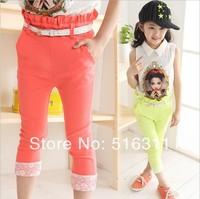 wholesale 2014 spring summer big girl lace all-match elastic high waist pencil pants casual pants capris skinny belt pants H248