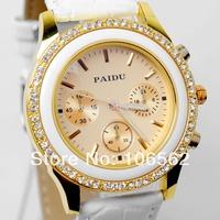 High Quality women dress watch Fashionable PAIDU Fashion Women Ladies Leather Belt with Crystal Rhinestone Quartz Wrist Watch