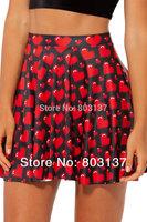 New Summer 2014 Ladies Fashion LOVE YA BITS BLACK SKATER SKIRT Above The Knee Saia De Renda Skirts Women Drop Shipping S119-91