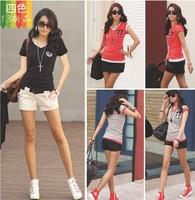 New 2014 women t-shirt casual woman clothes cotton women tops hot sale V-neck summer women shirt