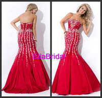 Romantic Mermaid Floor-Length Strapless Crystal Beaded Red Satin 2014 New Arrival Prom Dresses Gown