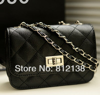 2014 new spring and summer PU Twist lock  handbags metal chain shoulder bag, messenger bag, HS-BAG015