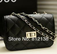 2014 new spring and summer PU Twist lock  handbags metal chain shoulder bag, messenger bag, HS-BAG015