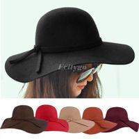 2014 Fashion Vintage Women Ladies Floppy Wide Brim Wool Felt Fedora Cloche Hat Cap 6 Color Free Shipping