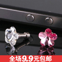 Free shipping 1136 sparkling diamond shape  for apple    for iphone   4s 5s general mobile phone dustproof plug headphones