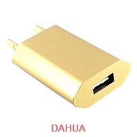 Free Shipping Universal European Standard Golden USB Charger for iPhone4/4S/5/5S/5C/iPad/itouch/iPod(5V,1000mA)