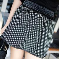 FreeShipping Fashion PU Leather Elastic Waist Polka Dot Skirt OL Bust Skirt Spring Autumn Winter Short Skirt Woman Cheap Skirts
