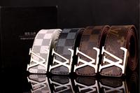 top quality vintage men women leather strap belt /cinto/ v beatiful gold buckle classical designer style belts for men women