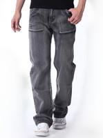 Large size mens casual jeans size 44 46 48 water wash nostalgic vintage loose grey straight denim pants