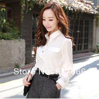 Qct 2014 spring and autumn women's loose casual basic long-sleeve chiffon shirt top shirt